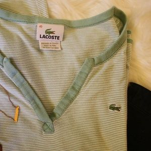 Lacoste Tops - Lacoste Woman's Long Sleeve Striped V-Neck